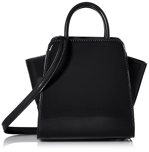 ZAC Zac Posen Women's Patent Eartha North/South Mini Satchel Bag, Dark