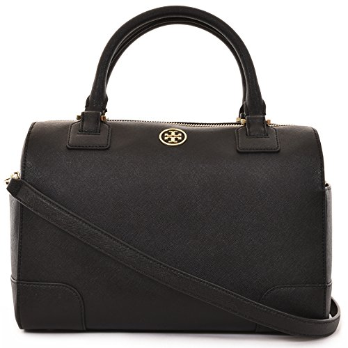 Tory Burch Robinson Middy Satchel Saffiano Leather – Matte Black