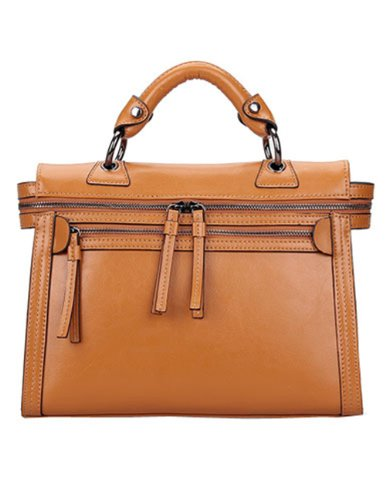 Fineplus Women's Genuine Leather Europe Vintage Handbag Leather Tote Bag Brown