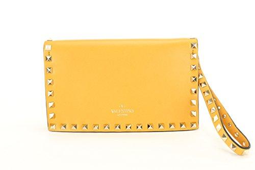 Valentino Garavani Womens Kw2b0399nbd Clutch Handbag – Orange Leather