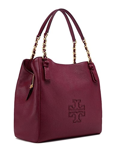 TORY BURCH HARPER CENTER DARK MERLOT LEATHER ZIP TOTE