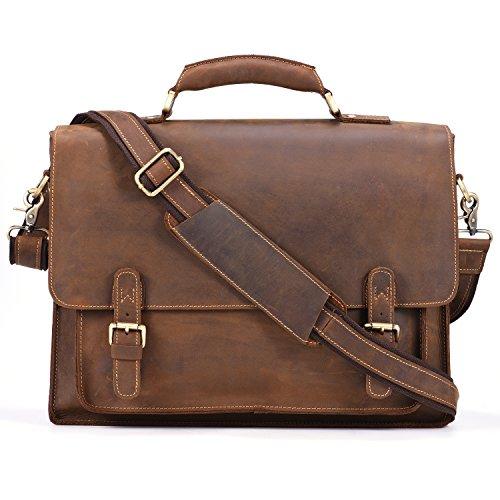 Kattee Real Leather Shoulder Briefcase, 15.7 Laptop Tote Bag