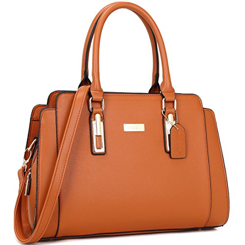 Dasein Fashion Women's Satchel Handbag, Saffiano-Style Ladies' PU Faux Leather Purse with Removable Shoulder Strap