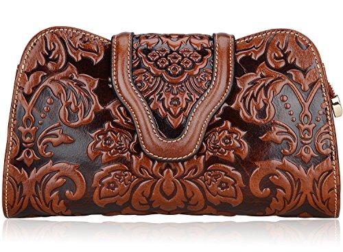 Pijushi Designer Floral Genuine Leather Clutch Cross Body Handbags 22298