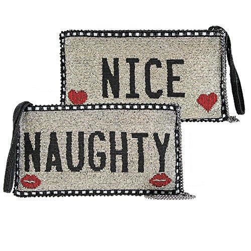 Mary Frances Naughty or NIce Christmas Holiday Beaded Clutch Bag