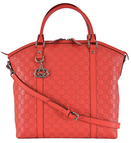 Gucci Women's Coral Red Leather GG Guccissima Convertible Large Dome Purse