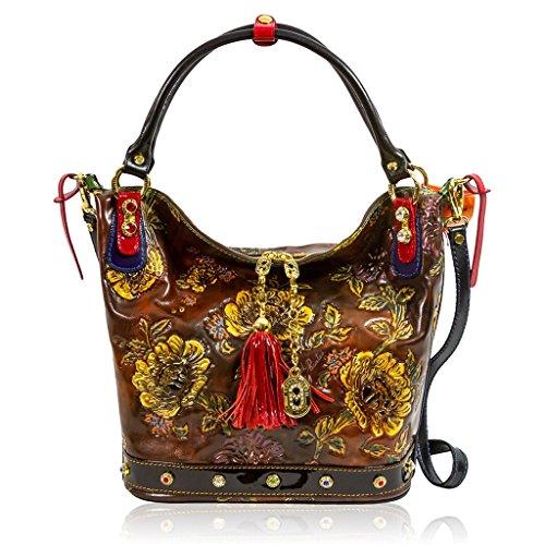 Marino Orlandi Italian Designer Brown Handpainted Leather Large Swarovski Bag