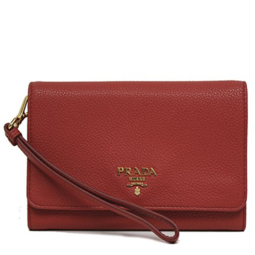 PRADA Portafoglio Vitello Grain Leather Wristlet Wallet Bag Red 1MH438