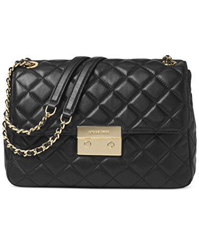 Michael Kors Sloan Extra Large Chain Shoulder Bag Quilted Leather Black/Gold