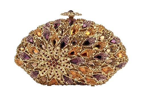 Yilongsheng Ladies Fanshaped Evening Handbags with Colored Beaded Crystal Diamonds(Gold purple)