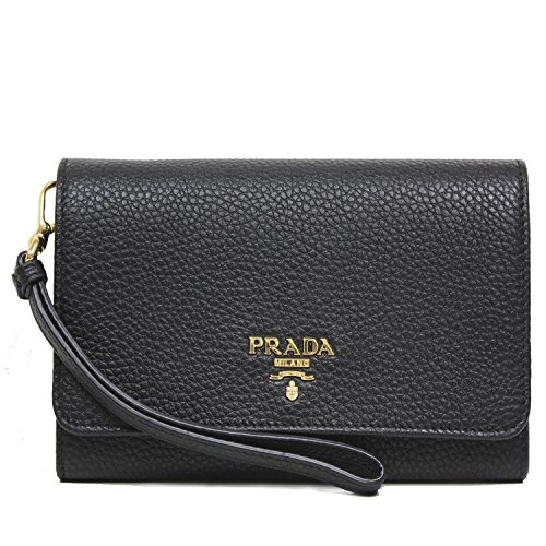 PRADA Portafoglio Vitello Black Grain Leather Wristlet Wallet Bag 1MH438