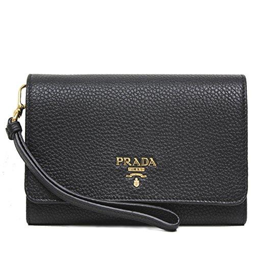 PRADA Portafoglio Vitello Black Grain Leather Wristlet Wallet Bag 1MH438