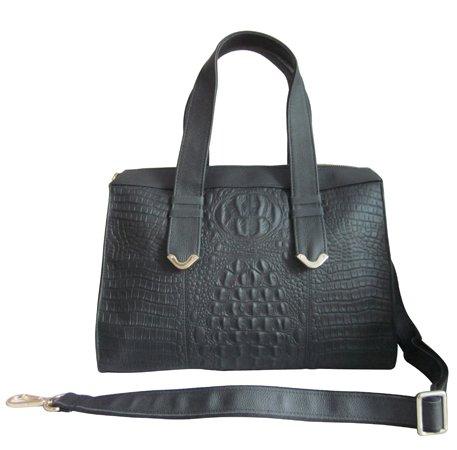 AmeriLeather Gator-Gal Handbag/Shoulder Bag (Black)