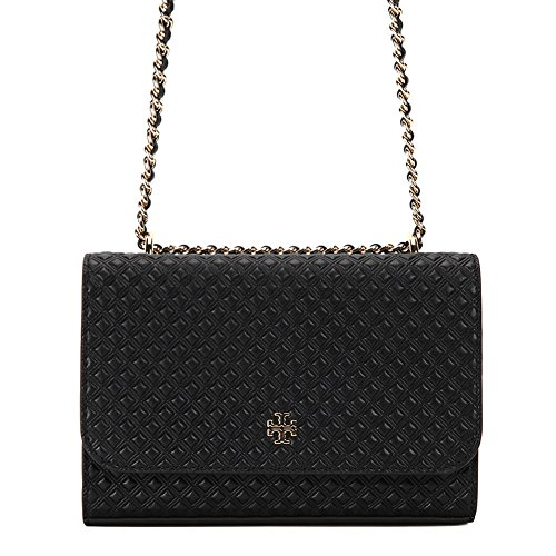 Tory Burch Marion Embossed Shrunken Shoulder Bag 33406-001 Black One Size