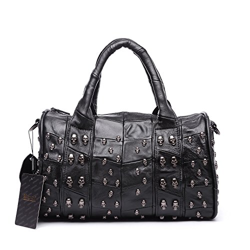 Jonon 12.6 Inch Women's Lambskin Doctor Style Handbag Skull Studded Shoulder Satchel Bag