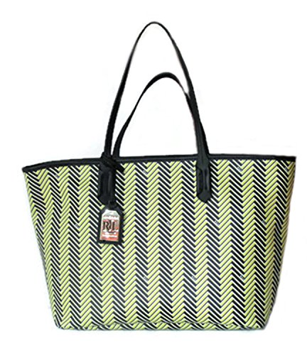 Ralph Lauren Handbag Boswell Classic Faux Leather Tote Citron Black Large RRL Bag Striped Herringbone
