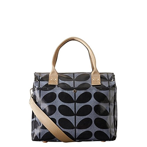 Orla Kiely Shiny Laminated Solid Stem Print Zip Mesenger Bag Midnight