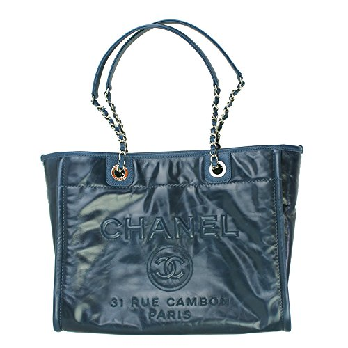 Chanel Deauville Blue Leather Chain Shoulder Bag A93257