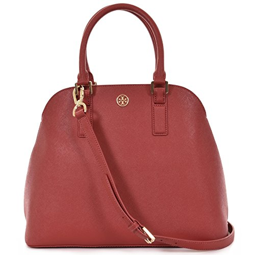 Tory Burch Robinson Open Dome Satchel Saffiano Leather – Kir Royale Red