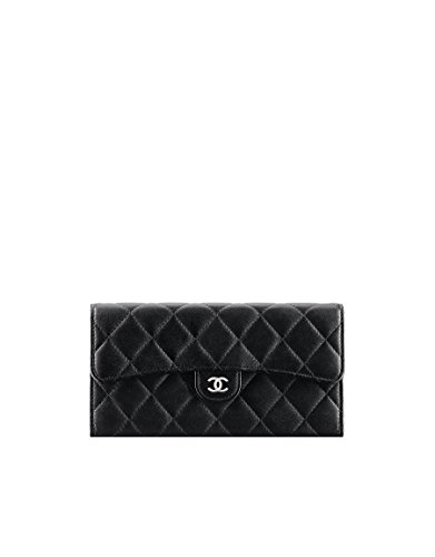 CHANEL Lambskin Silver Metal Black Burgundy Flap Wallet A80758 Y01480 C3906