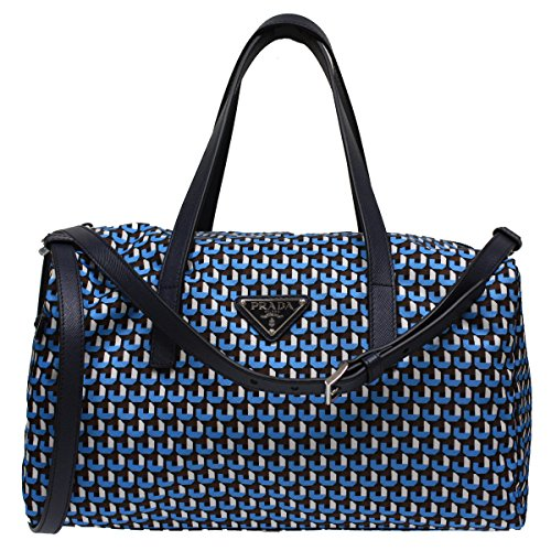 Prada Blue Nylon Print Bowler Top Handle Shoulder Bag BL0567