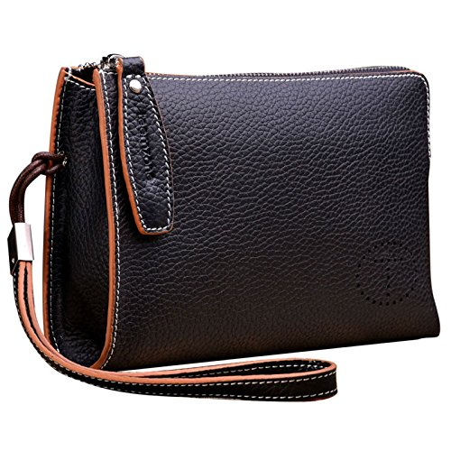 Teemzone Genuine Top Leather Business Credit Crard Cash Holder Wrist Clutch Bag Handbag