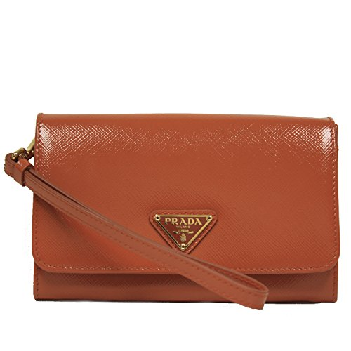 PRADA Portafoglio Saffiano Vernic Papaya Orange Leather Wristlet Wallet Bag 1M1438