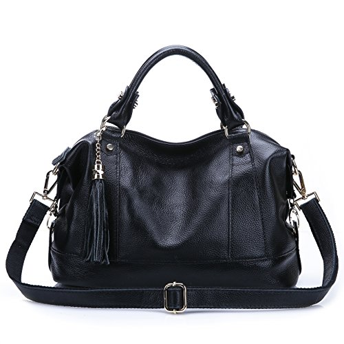 Leyan Women's Genuine Leather Handbag Tote Shoulder Bags Tote Cross Body Purse