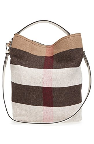 Burberry Medium Ashby Canvas Check Leather Tote – White