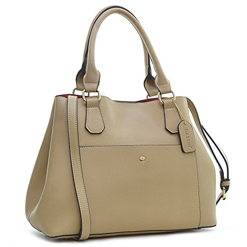 Dasein Saffiano Leather Satchel Collection with Shoulder Strap