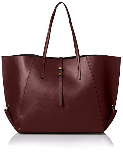 ZAC Zac Posen Women's Contrast Lined Eartha Folded Gusset Shopper, Vino