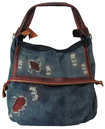 Amerileather Burke Ripped Leather Trim Tote – Ripped Denim/Leather