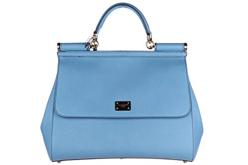 Dolce&Gabbana women's leather handbag shopping bag purse sicily light blue