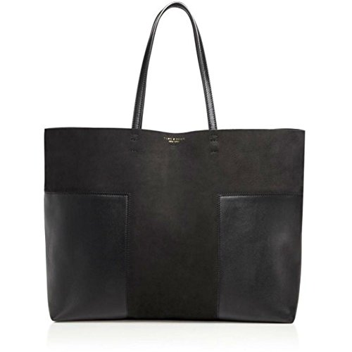 Tory Burch Block-T Leather Tote Handbag, Black