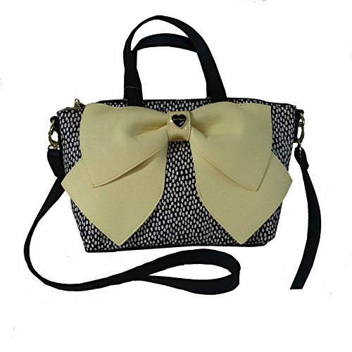 Betsey Johnson Bow Nanza Medium Satchel Yellow Black