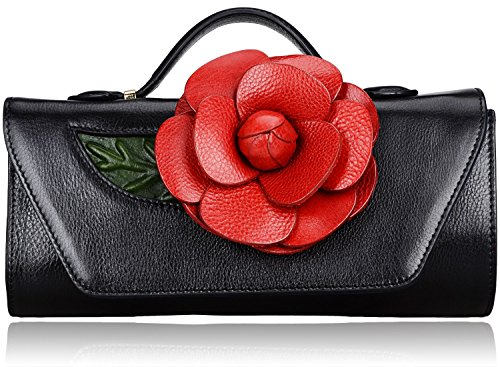 Pijushi Designer Floral Genuine Leather Party Clutch Cross Body Handbags 8852