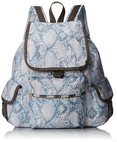 LeSportsac Voyager Backpack Handbag (One Size, Aqua Snake)