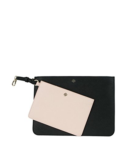 Tory Burch 'York Duo' Leather Pouches, Black/Light Oak