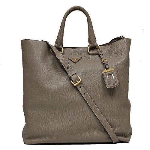 Prada Textured Dove Grey Taupe Beige Leather Shopping Tote Bag Large Shoulder Handbag BN1713