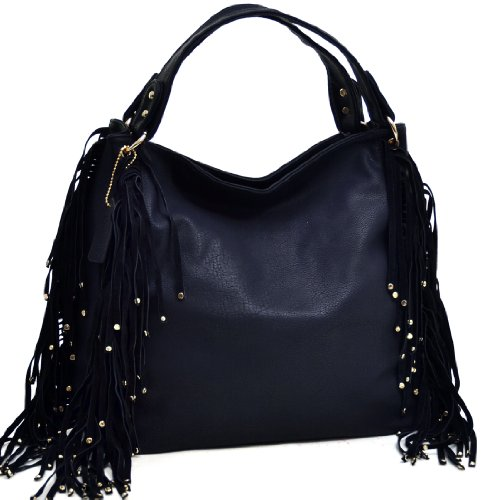 Dasein Studded Fringe Fashion Large Hobo Bag