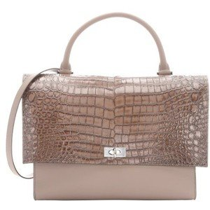 Givenchy Taupe Croc Embossed Leather Shark Lock Convertible Top Handle