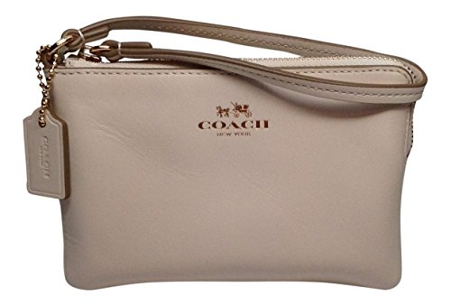 Coach Armor Smooth Leather Corner Zip Wristlet Goldtone Chalk 66449