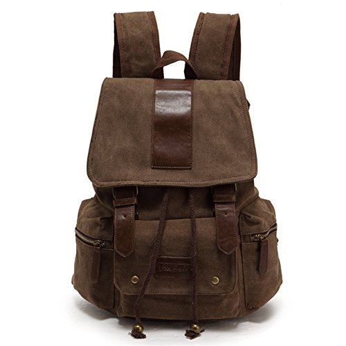 Sechunk Multifunction Cotton Canvas Leather Backpack