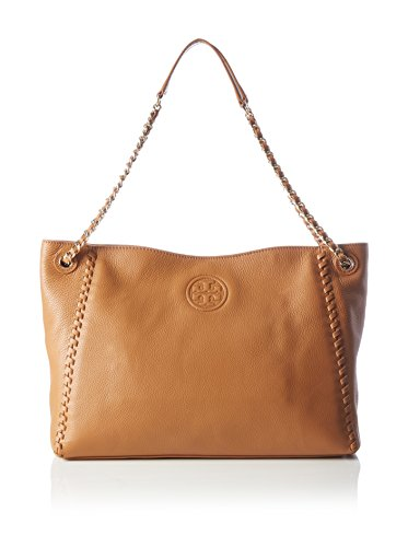 Tory Burch Marion Chain-Shoulder Slouchy Tote in Bark