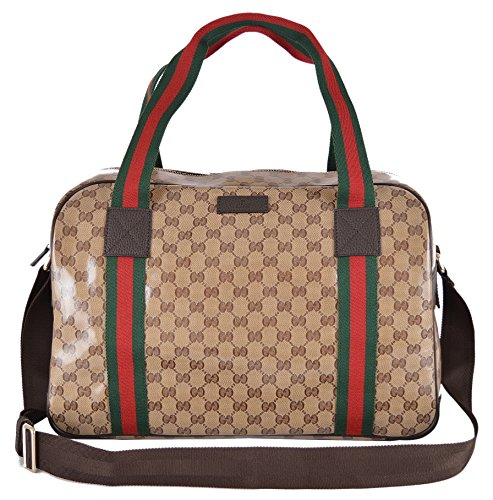 Gucci Crystal Line Coated Canvas GG Guccissima Red Web Duffle Travel Bag