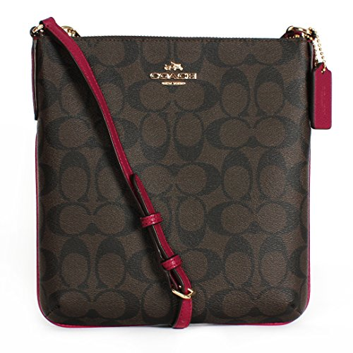 Coach CC Signature NS Cross Body File Shoulder Bag F35940 Brown/fuchsia