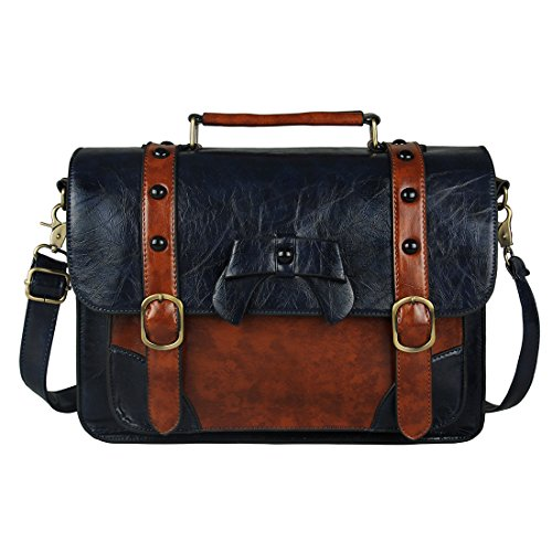ECOSUSI Vintage Messenger Bags Briefcase Girl's Purses School Satchel