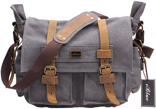 Iblue Retro Durable Leather Canvas Shoulder School Laptop Messenger Satchel Bag 15.7 Inch #0138