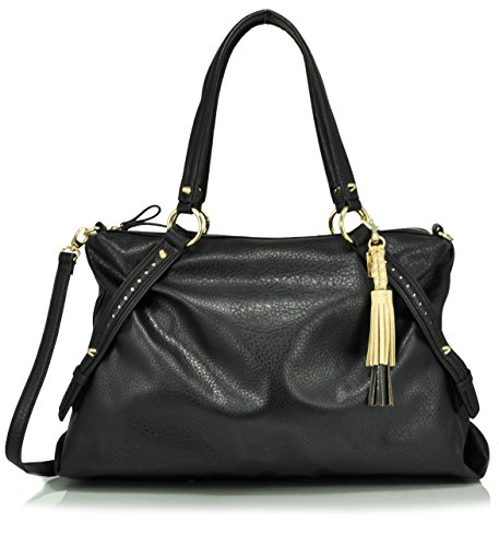 Jessica Simpson Christina Satchel Shoulder Bag, Black
