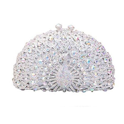 Celestte Evening Handbags, Luxury Crystal Clutches For Women Peacock Clutch Evening Bag